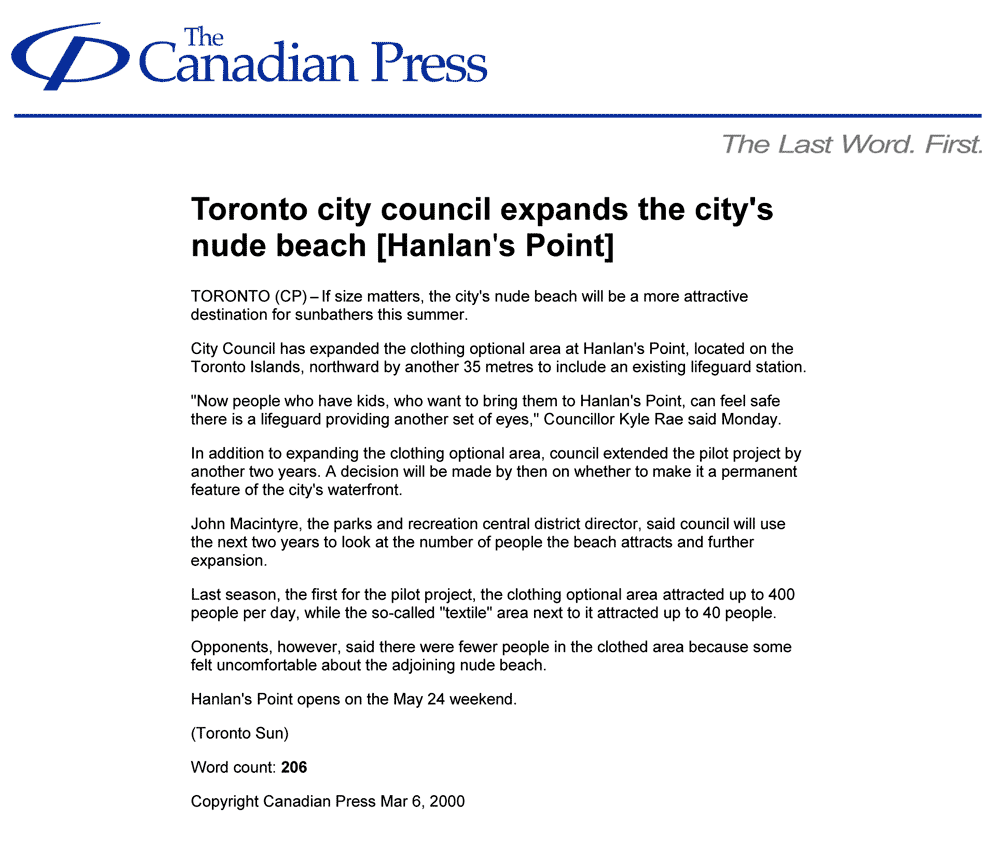 Canadian Press 2000-03-06 - Toronto Council extends Hanlan's Point Clothing-Optional Zone